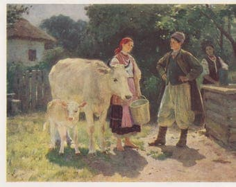 "P. Pimonenko ""Rivals (at the well)"" Postcard -- 1961"