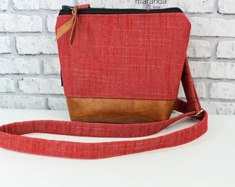 BRI Messenger Bag  - Red Denim-  READY to SHIP Adjustable messenger Zipper Purse