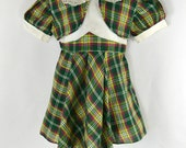1960s Girls Green Plaid Dress by Toni Togs, Vintage Toddler Dress