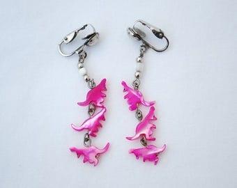 Vintage Hot Pink Dangling Kangaroo Earrings - Dyed Natural Shell - Silver Metal Clip Back Design - 1980's