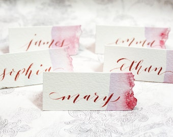 Custom Calligraphy Place/Table Cards - Basic Watercolor Wash with torn edge