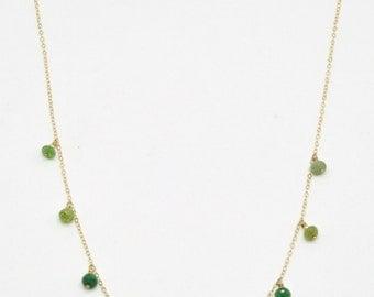 Emerald Heart Chakra Necklace - 14K Gold Filled, Fine Bohemian Jewelry Layering Boho, Gemstone, Healing Crystal Handmade Fancy Drop Gift Her