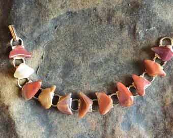 Vintage Polished Agate Stone Link Bracelet Brown Gold Tone