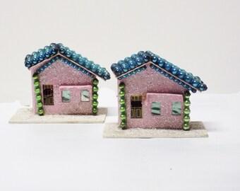 Set of 2 Pink Cardboard Putz Houses
