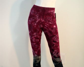 Tie dye capri leggings in Bamboo/Cotton/Spandex jersey with 4 way stretch.
