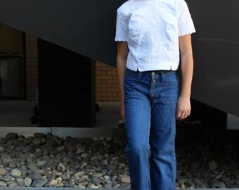 70s Lee Bellbottoms // Flared Vintage Jeans // Denim Sailor Bellbottom Pants // Girls Size 14 Juniors Size 1 / 3