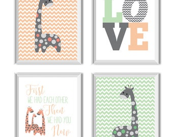 Giraffes Nursery Decor, Girl, Love Art Print, First We Had Each Other Now We Have Everything, Giraffe, Peach, Mint, Peach Mint Nursery Decor