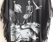 Surrealist skeleton moon stone washed hippie rock tassels t-shirt tank top small poncho
