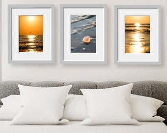 Sunrise print, Sand photography, Bokeh photography, Sea shell art, Beach photography, Zen wall art, Yoga studio décor, Set of 3 prints