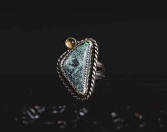RESERVED for Helena-Tibetan Turquoise Ring with Citrine-Sterling Silver Natural Turquoise Ring-Bohemian Style Jewellery