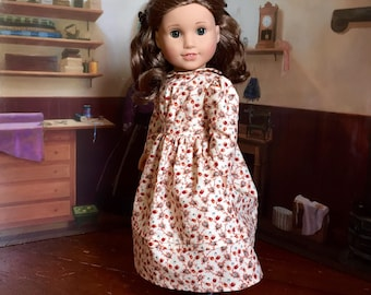 1880s Dress in Cream and Brown Floral for your 18 inch American Girl doll like Kirsten