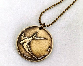 Swallow necklace - BIRD COIN pendant - Slovenia Barn Swallow - swallow necklace - bird necklace - bird jewelry - bird pendant - sparrow coin