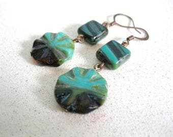 Aqua Blue glass Earrings Copper summer sun black square flower sunburst fun Casual handmade jewelry gifts for her under 20 dollars