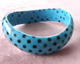 Polka Dot Bangle Bracelet Blue & Black Lucite Retro Fun