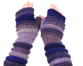 Handmade Purple Outlander Inspired Teenager knit Fingerless gloves for lady Unmatched Knit Striped Mittens with upcycled wool and kid mohair