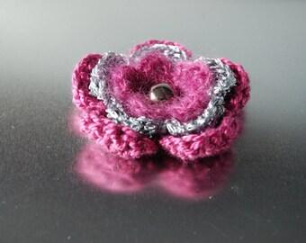 Flower Brooch, Crochet Brooch, Crochet Flower Brooch, Fabric Brooch, Fuchsia Flower Brooch, Antique Fuchsia Brooch, Raspberry Brooch