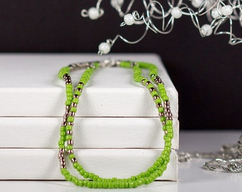 Greenery Long Beaded Necklace in Green and Silver or Gold