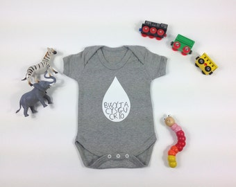 Baby Clothes Light Grey Babygrow Welsh Text Bwyta, Cysgu, Crio White Unisex