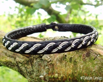 FENRIR Viking Bracelet   Custom Handmade Black Leather Bangle   Nordic Folklore Leather Cuff   Choose between 30 Colors