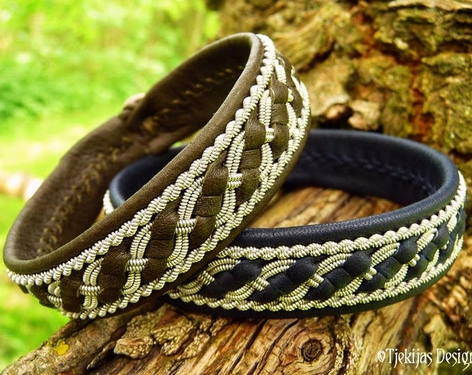 FAFNIR Norse Bracelet | Sami Lapland Viking Cuff in Olive Reindeer Leather, with Pewter Braids | Custom Handcrafted Nordic Jewelry
