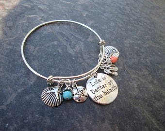 Life is Better at the Beach Adjustable Bangle Bracelet with Sand Dollar Seahorse Shell Turquoise and Coral Charms