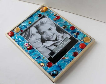 Wedding shards 5 x 7 frame with Jewish wedding, fused glass & dichroic glass, initials, date, custom made