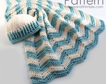 Baby Hat & Blanket Gift Set - Crochet PATTERN - (Small and Large) - Seafoam Layette PDF 1928
