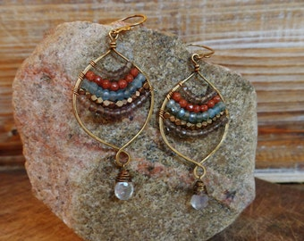 Fearless. Hammered Artisan Boho Gold Brass Chandelier Drop Earrings with Wire Wrapped Smoky Quartz, Rust Sandstone, Aquamarine, Moonstone