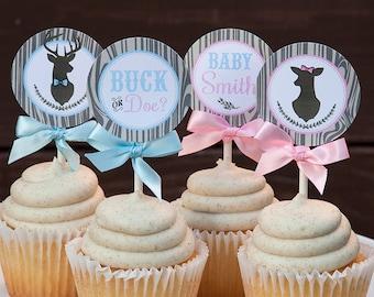 Buck or Doe Gender Reveal Cupcake Toppers, Buck or Doe Cupcake Toppers, Personalized, Printable PDF File