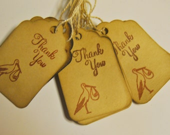 stork baby shower Thank You miniature xs Coffee stained vintage inspired favor gift tags. primitive. rustic. wedding. scrapbooking