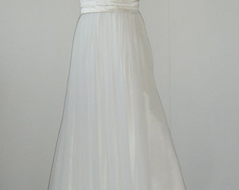 SUPER SALE, hand-pleated satin bodice, billowing chiffon skirt with built in girdle