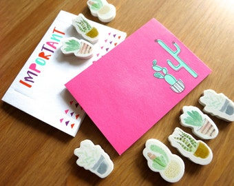 Cute Mini Cactus & Succulents Set-Lot of 8 Pastel Cacti Erasers and 2 Neon Boho Sticky Note Pads-Mini Hipster School Supplies-Potted Plants