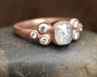 Icy Gray Oval Rose Cut Diamond Ring with Accent Diamonds Bezel 14K Rose Gold Rustic Diamond Ring Engagement Ring Conflict Free Boho Wedding