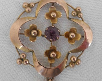 Edwardian 9ct Gold and amethyst lovely lavaliere/pendant