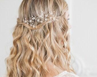 Gold flower wedding hair pins, Gold flower bridal hair pins, Spray hair pins