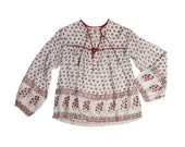 Beautiful Rare Blue and Red Indian Gauze Blouse