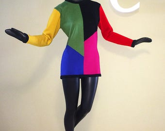 Sexy Vintage 80s Color Block Tunic Wool Sweater 1980s 90s MOD Mondrian Shapely Top Micro Mini Dress Nuthin' Ugly Sweater about it! Small M