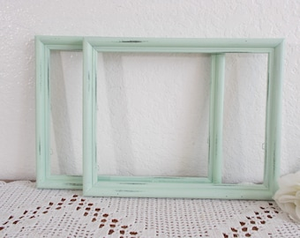 Light Green Picture Frame Up Cycled Vintage Wood Rustic Shabby Chic Distressed 8 x 10 Photo Decoration Garden Country Cottage Home Decor