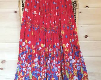 Bohemian Wildflower Broomstick Skirt//Size Medium//Made in India