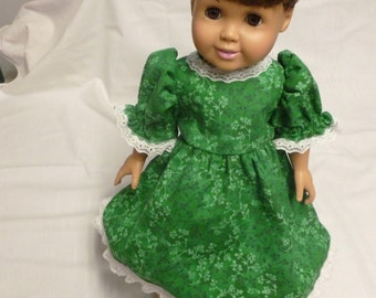 "Handmade green floral cotton dress for 18"" doll or American girl doll"