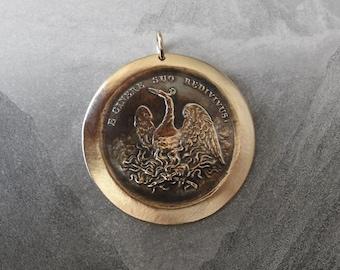 Phoenix Pendant - Latin motto Rise Again - antique French Jeton pendant - French token jewelry in bronze by RQP Studio