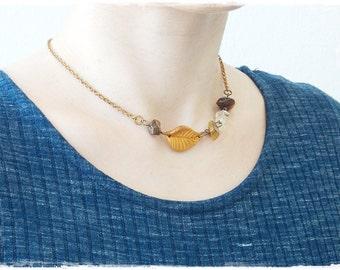 Fall Leaf Necklace, Citrine Stone Necklace, Tiger's Eye Stone Necklace, Autumn Leaf Amulet, Polymer Clay Necklace, Brass Leaf Stone Necklace