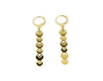 Boucles d'oreilles Halley, laiton doré à l'or fin