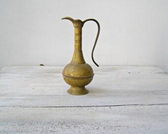 Ethnic Brass Pitcher Vintage, Tall Pitcher Bud Vase, JERUSALEM Brass Decor, Decorative Brass Judaica , Etched Brass Pitcher Jungalow Decor