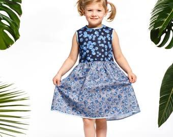 Handmade girls' blueberry dress, blueberry summer dress