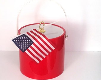 Festive Red Ice Bucket - Clear Lid with Gold Tone Knob - Vintage Ice Bucket - Made by DRULANE, A TOWLE Co., New York