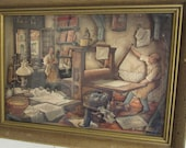 SALE Vintage Framed Shadow Box/Anton Pieck Artist/Printer's Shop Scene/3D Wall Hanging/Wood Framed Collectible/Country Cottage /European