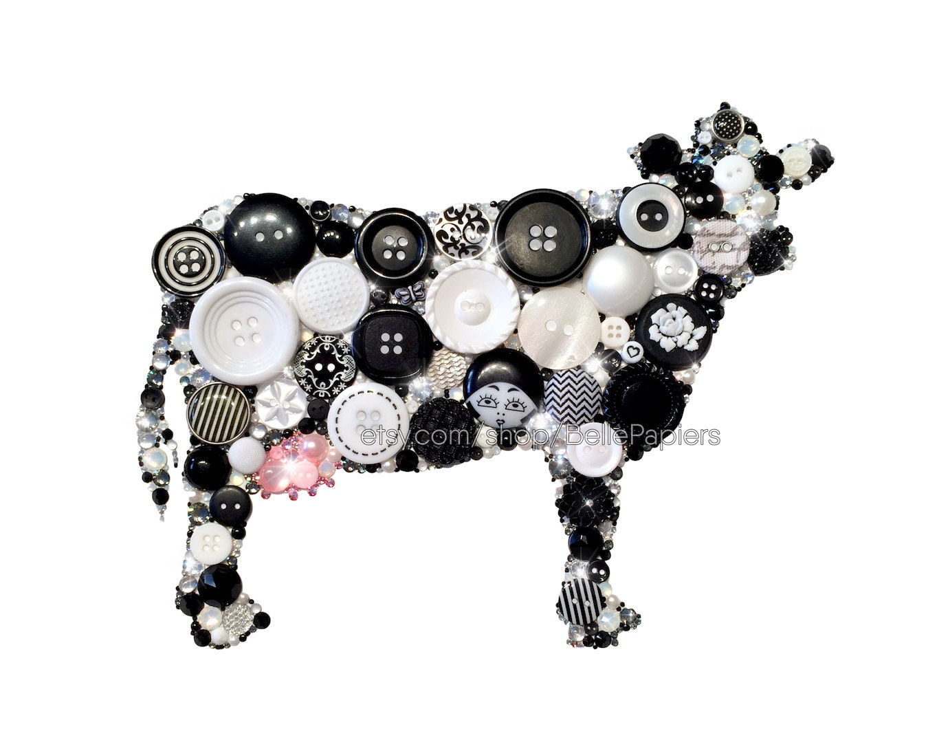 Black Cow Wall Decor : Cow kitchen gallery wall decoration farmhouse decor button art