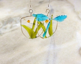 Blue Resin Filled Dragonfly Path Wire Earrings