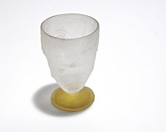 Cristina Salusti Art Glass Tumbler, Frosted Fossil Glass Footed Tumbler, Collectible Art Glass, Collecting Salusti Fossilglass